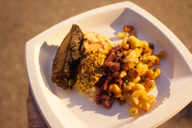 Beer-Steamed Knockwurst with Sauerkraut and German Mustard, Braised Short Ribs Sauerbraten-Style, Braised Red Cabbage and Brown Butter Spaetzle from Fête Catering and Ballroom